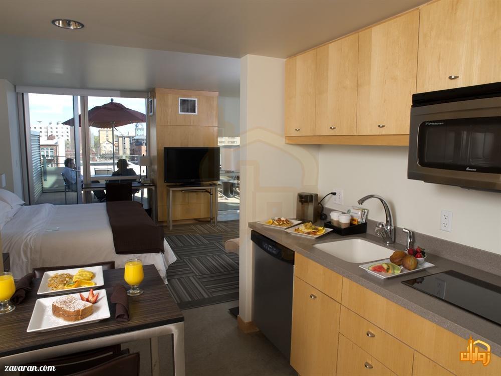 آشپزخانه در هتل آپارتمان